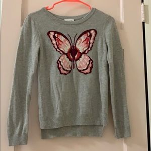 Gray girls sweater with pink sequin butterfly